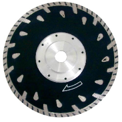 Turbo diamond saw blade with flange