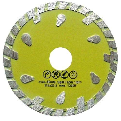 Fine turbo diamond saw blade with droplike segments